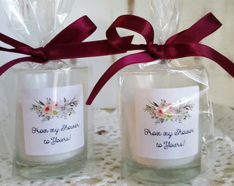 Candle Favors, From my shower to yours, wedding favors, votive candles set of 15