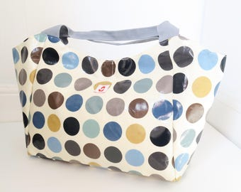 Large Bella Bag Made With Denim Spot Print Oilcloth With Webbing Handles