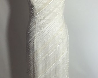 Sale Gorgeous Ivory Beaded Vintage Cache Formal Gown
