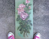 When The Shabby Becomes The Chic 1904 Antique Oil On Board Rose Painting