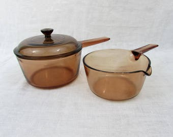 Amber Visions Cookware  Pans - 1.5 liter w/lid and 1 liter pour spout pan