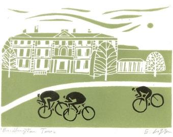 Tour The Yorkshire - Green - Bridlington Race, Bike Linocut,UK Cycling Art - Bicycle Print - Printmaking - Signed Giuliana Lazzerini