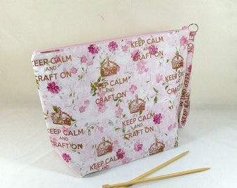 "Knitting Project Bag - Large Zipper Wedge Bag in ""Keep Calm and Craft On"" Quilting Fabric and Pink Cotton Lining"