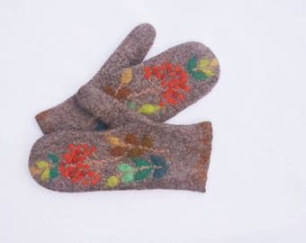 Felted Mittens Merino wool Brown