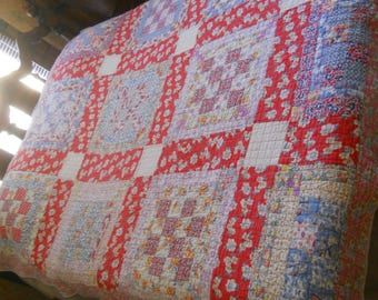 Awesome Vintage Colorful 16 Patch Country Quilt--ALL FEEDSACK MATERIAL-Hand Quilted-Fabulous Feedsack Prints-82x70