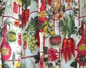 1970s Mid Century Kitchen Curtains / Colorful Cotton Curtain Panels / Wine Bottles Utensils Garlic Olive Oil Print