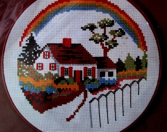 DIY Vintage Counted Cross Stitch // Rainbow Cottage House Circle Hoop