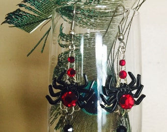SPIDER GLAM Jewelry -  Black Widow Spider EARRINGS