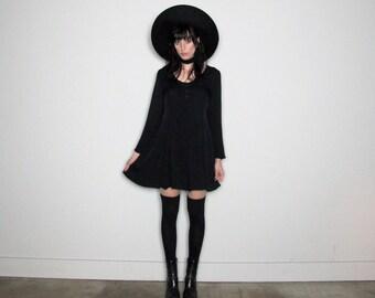 Black BABYDOLL 90s DRESS VINTAGE Grunge Long Sleeve Womens Size M