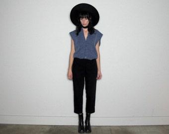 Powder Blue PASTEL SWEATER Vintage VEST 80s Womens Size M
