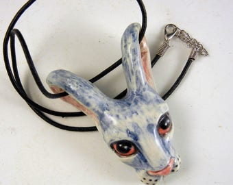 Blue rabbit bunny porcelain pendant one of a kind with adjustable cord