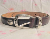 Unworn Brighton golf belt, narrow dark brown leather w small silver golf icons   FREE SHIPPING