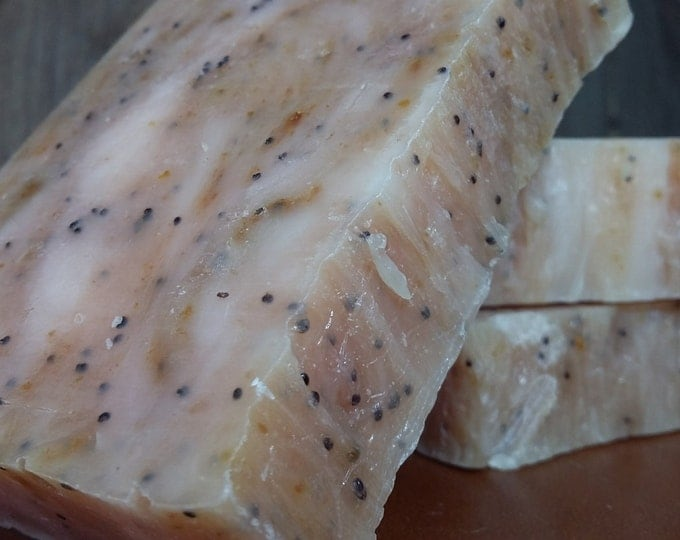 Lemon Poppyseed Soap -- All Natural Soap, Handmade Soap, Barely Scented Soap, Hot Process Soap, Vegan Soap