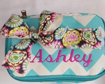 Chevron Aqua Cosmetic Bag Custom Embroidery