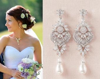 Bridal Necklace, Back Drop Wedding Necklace, Bridal Jewelry SET, Rose Gold, Gold, Swarovski Pearls, London Bridal Jewelry