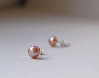 Pink Pearl Studs, Pearl Post Earrings, Pink Studs, Pearl Stud Earrings, White Pearl Studs, Pearl Jewelry, Blush Pink Earrings