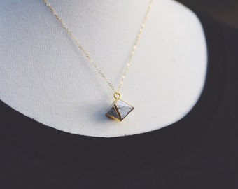 geometric marble necklace.