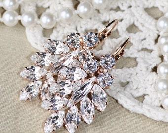 LAST PAIR RoSE Gold Earrings,Swarovski Crystal Climbing Earrings,Bridal Cluster Earring,Swarovski Bridal Earring,White Clear Crystal Vintage