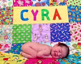 Handmade Baby Quilt with Name, I Spy Quilt Animals Boy or Girl, Colorful baby / toddler Quilt Personalized, One of a kind