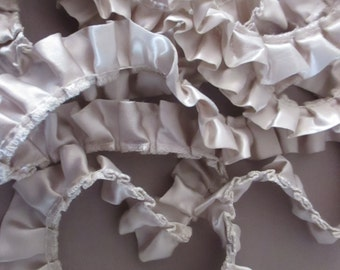 "Satin Ruffled Trim Edging Silvery Champagne 76"" Pleated Trims Sewing Crafting Supplies Craft Supply Lampshade Trims Pillow Edgings"