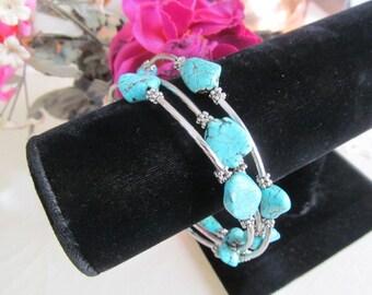 Turquoise Color Beaded Silver Tone Wrap Bracelet, Southwestern Style