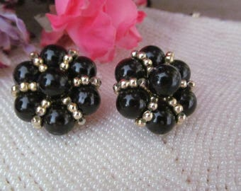 Beaded Black Gold Clip Earrings Vintage Earrings