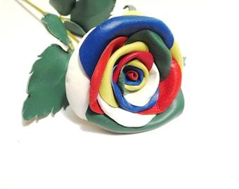 Black flower -Red Leather Rose-  Wedding flower -3rd Anniversary Gift- Long Stem Flower