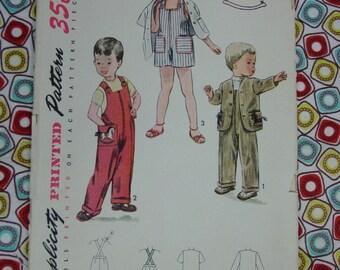 Vintage Pattern c.1951 Simplicity No.3566 Toddler Overalls, Jacket Size 2