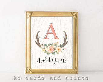 Nursery Name Printable, Addison, Baby Name, Rustic Nursery Decor, Boho, Nursery Art, Baby Shower Gift, New Baby Gift, Digital Print