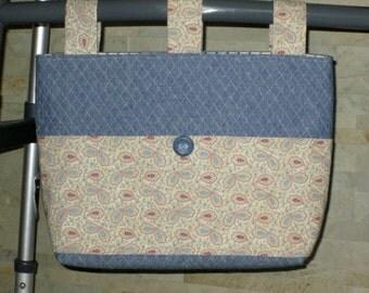 Adult Woman Walker Bag Tote Caddy Purse – Cornflower Blue Quilted Cotton Bag,  Beige Blue Cranberry Pattern Pockets 3 Straps, Blue Button