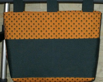Adult Unisex Walker Bag Tote Caddy – Goldenrod & Hunter Green Cotton Canvas Bag, Hunter Green Pockets and 3 Straps
