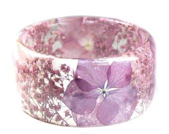 Lavender Flower Bracelet -Flower Jewelry- Real Flower Bangle- Real Flower Resin Jewelry - Jewelry made with Flowers-  Flower Bracelet