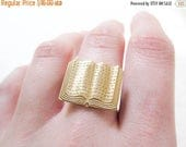 MOVING SALE Book Ring ~ Brass Jewelry ~ Novelty Ring ~ Librarian ~ Book Lover ~ Adjustable Ring ~ Book Jewelry ~ Teacher Gift
