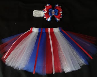 4th of July tutu set, custom made in your choice of size Newborn-4t