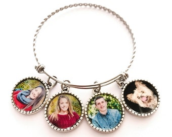 Photo Bangle Bracelet, Family Tree Photo Bracelet, Special order