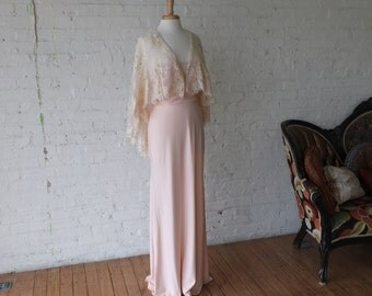 Lace caplet pale pinky peach wedding dress evening gown