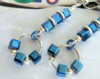 Sapphire Blue Glass Cube Bead Earrings, Cube Bead Earrings, Dangle Hoop Earrings, Mango Tease, FREE US SHIPPING