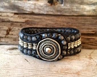 Labradorite and Tibetan Silver Prayer Wheel Cuff Leather Wrap Bracelet