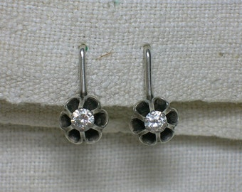 Soviet Silver Earrings. 875 & Fianit CZ. Floral Setting. Moscow 1986