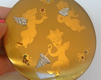 Cupids Putti Angels Valentine Compact Gorgeous w Rhinestones Umbrella fan flowers Mishievious & Playful Nymphs Collector 1940 Large Pristine