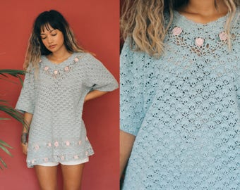 Teal Crochet Knit Cover Up Dress / Green Blue Sheer Knit Dress / Floral Embroidered Crochet Knit Top / Turquoise Tunic Lace Hippie Boho Mini