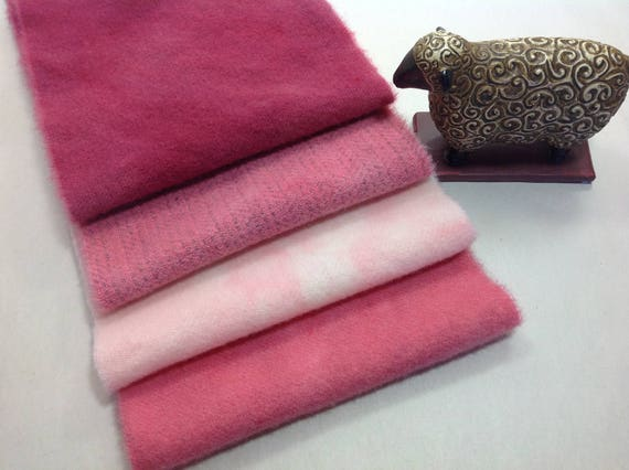 Tickled Pinks, Hand Dyed wool fabric for Rug Hooking and Applique, 4) Fat 1/16ths, W324 LAST ONE