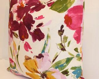 """Watercolor Floral Pillow Cover - 18"""" - P Kaufman Paint Palette 003 Punch - Aquarelle Collection - Decorative Pillow - Turquoise - Pale Laven"""