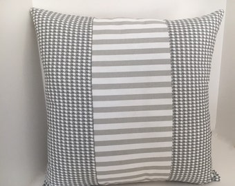 Gray White Herringbone and Stripes Pillow Cover // Cottage Pillow Cover