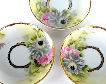 Set 3 Floral Tea Cup Saucers- Handpainted- Etsy Coupons Pretty Wedding Plates top selling shops most sold cups best sellers tea party cup