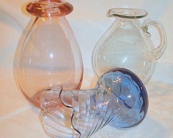 3 Clear Colored Glass Bottles 'Instant Collection' Glass Art Probably Hand Blown Complimentary Shapes Pink Blue Touch of Green