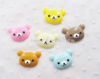 6pcs - Cute Kuma Bear Mix Decoden Cabochon (40x26mm) RKK010