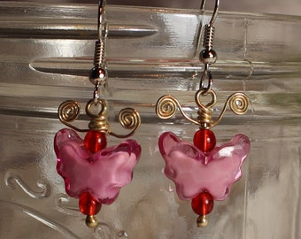 Pink and Red Butterfly Earrings