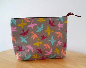 QUICKSHIP-Colorful Birds cosmetic/ travel bag