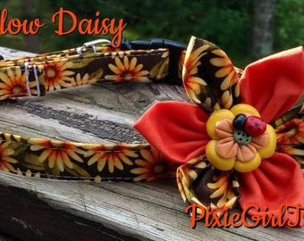 Daisy Dog Collar, Sunflower Dog Collar, Flower Dog Collar, Yellow Dog Collar, Orange Dog Collar, Dog Collar, Dog Collar with Flower